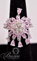 Flower Ring with Pink and CZ Stones that Dangle, Stamped 925 Uncas Thailand