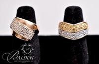 (2) Gold Colored CZ Rings, Both Stamped 925 R China