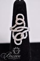 Large Swirl Design Ring with Rhinestones, Stamped 925 Vietnam - With Tags