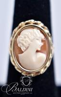 Carved Shell Cameo Gold Ring, Stamped 14K CJI