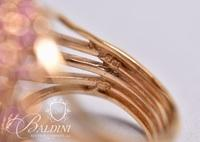 Large Dome Cluster Ring with Fuchsia Pink Stones, Stamped 925 PJM CZ