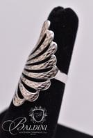 Large Wing Textured Silver Ring, Stamped 925 C^A Canada