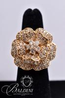 Large Gold Color Flower Ring with Rhinestones, Stamped UTC 925 Thailand