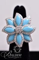Turquoise Color Flower Ring, Stamped 925 Thailand