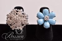 (2) Rings, Turquoise Flower Ring is Stamped 925