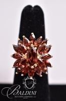 Simulated Garnet Flower Ring, Stamped 925 R China