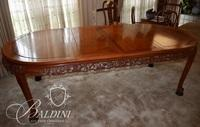 Solid Rosewood Heavily Carved Dining Table with Two Leaves on Ball and Claw Feet