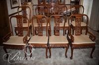 (8) Solid Rosewood Heavily Carved Dining Chairs - (2) Captain (6) Side