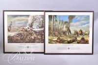 """(2) Framed Military Prints """"The Rock of the Marne"""" and """"Follow Me!"""""""