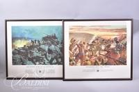 """(2) Framed Military Prints """"Breakthrough at Chipyong-NI"""" and """"Knocking Out the Moros"""""""