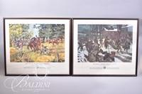 """(3) Framed Military Prints """"The Road to Fallen Timbers"""" """"Merry Christmas, 1776"""" and """"Gatlings to the Assault"""""""