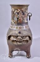 Hand Painted Asian Censer With Beast Face Stamped on Underside
