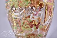 Hand Made and Painted Asian Benjarong Porcelain Vase