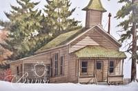 Van H. Treat Original Dry Brush Watercolor Depicts Old Schoolhouse in the Snow, Signed Lower Right