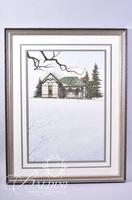 Van H. Treat Original Dry Brush Watercolor Depicts Old House with a Green Roof, Signed Lower Right