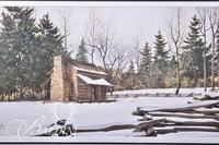 Van H. Treat Lithograph Depicts Primitive Log Cabin in the Snow, Pencil Signed Lower Right and #1/1000