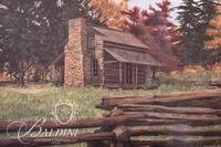 Van H. Treat Framed Lithograph Depicts Primitive Log Cabin in the Fall