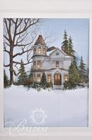 """Van H. Treat Original Dry Brush Watercolor """"House Alive With Cookie Smells"""", Signed Lower Left"""
