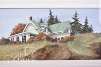 Van H. Treat Original Dry Brush Watercolor Depicts House on a Hill with Eroding Hillside, Signed Lower Right
