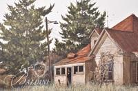"""Van H. Treat Original Dry Brush Watercolor Titled """"Evening Roost"""", Signed Lower Right"""