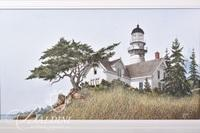 Van H. Treat Original Dry Brush Watercolor Depicts Lighthouse, Signed Lower Right