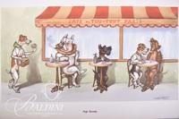"Boris O'Klein Dirty Dogs of Paris Series Prints ""Cafe Society"""