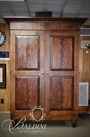Two-Door Flame Mahogany Entertainment Center/Armoire with Fold-Back Doors