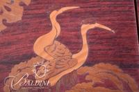 Asian Box with 4 Drawers and Carved Cranes