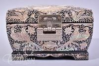 Asian Theme Jewelry Box with Mother of Pearl Inlay and Hinged Top - Includes Key