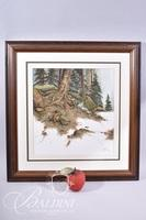 Van H. Treat Original Dry Brush Watercolor Depicts Exposed Tree Roots with Nearby Waterfall, Signed Lower Right