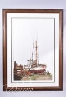 Van H. Treat Original Dry Brush Watercolor Depicts Old Ship, Signed Lower Right