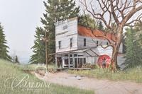 Van H. Treat Original Dry Brush Watercolor Depicts Old Country Store, Signed Lower Right