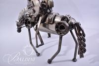 Brutalist Style Man on Horse Made from Car Parts, South American Artist