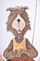 Van H. Treat Original 3-Panel Teddy Bear Dry Brush Watercolor