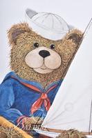 Van H. Treat Original Dry Brush Watercolor Teddy Bear with Sailboat and Angel Bear