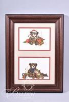 Van H. Treat Original Dry Brush Watercolor 2-Panel Christmas Bears