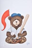 Van H. Treat Original Dry Brush Watercolor Teddy Bear with Baseball Bat and Fishing Bear
