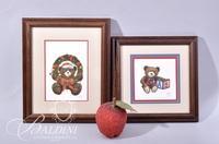 Van H. Treat Original Dry Brush Watercolor Christmas Teddy Bear and Bear Playing with Blocks