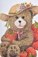 Van H. Treat Original Dry Brush Watercolor Teddy Bear with Strawberries and Watermelon