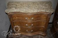 Granite Top Bedside Table with 3 Drawers