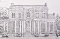 Graphite Drawing on of Oakland Mansion in Rutherford County by Polly Maxwell, Signed Lower Right