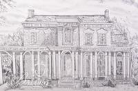 Graphite Drawing on of Oakland Mansion in Rutherford County by Polly Maxwell, Signed Lower Left
