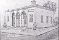 Graphite Drawing of Linbaugh Public Library in Rutherford County by Polly Maxwell, Signed Lower Right