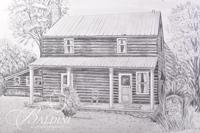 Graphite Drawing of DeWitt S. Jobe House in Rutherford County by Polly Maxwell, Signed Lower Left