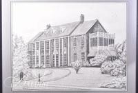 Graphite Drawing of Rutherford County Hospital by Polly Maxwell, Signed