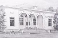Graphite Drawing of Linbaugh Library in Rutherford County by Clarice Nelson, Signed Lower Left