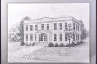Graphite Drawing of Bradley Academy in Rutherford County by Clarice Nelson, Signed Lower Right