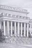 Graphite Drawing of Kirksey Old Main in Rutherford County by Clarice Nelson, Signed Lower Left