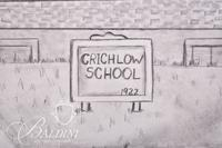 Graphite Drawing of Crichlow School in Rutherford County by Polly Maxwell, Signed Lower Right