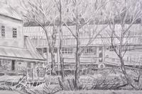 Graphite Drawing of Readyville Mill  in Rutherford County by Polly Maxwell, Signed